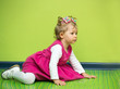 Little child girl playing in kindergarten,Montessori