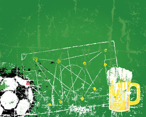 Soccer / Football and beer, free copy space, vector