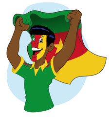 Cameroonian supporter vibrating