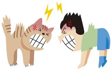 ネコと喧嘩する男の子