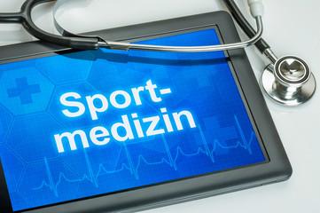 Tablet mit dem Fachgebiet Sportmedizin auf dem Display