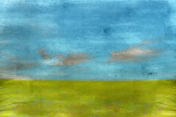 Vecchia illustrazione con prato verde e cielo con nuvole