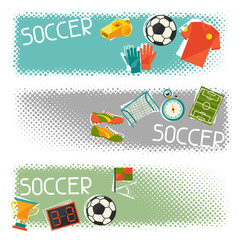 Sports horizontal banners with soccer (football) flat icons.
