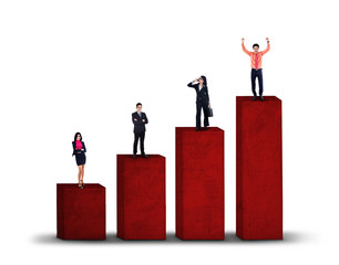 Business group standing on business chart isolated