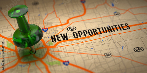New Opportunities - Green Pushpin on a Map Background. - 65099185