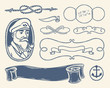 Nautical decoration set over white background.