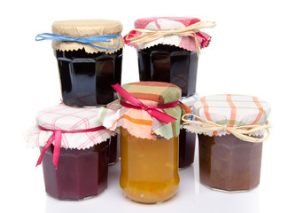 Jars of different jams and marmalades