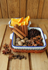 Cinnamon sticks, star anise, nutmeg and barberry.