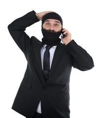 Adult man with mustache surprised on phone isolated