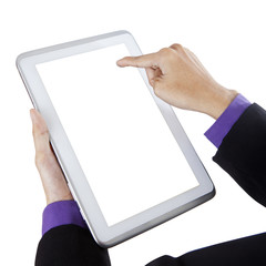 Businessman touching white screen digital tablet