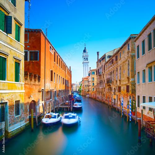 Venice sunset in San Giorgio dei Greci water canal and church ca - 65100525
