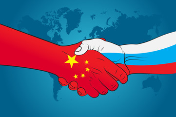 Handshake China and Russia