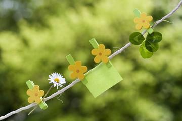 Notizzettel mit Glücksklee und Gänseblümchen