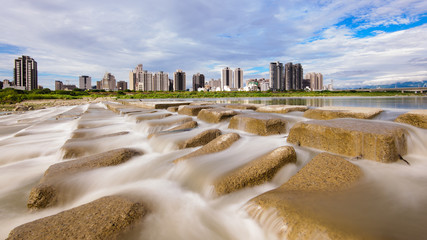 skyline of Hsinchu by the river in Taiwan