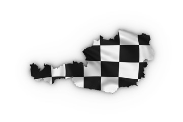 Austria map showing a checkered flag including a clipping path
