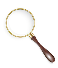 old golden magnifier on a white background