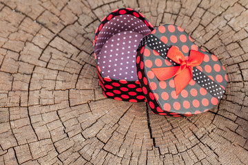Heart Shape Gift Box on the Wood