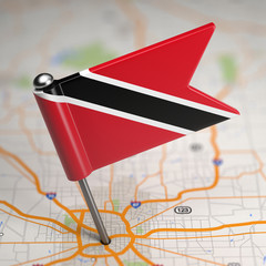 Trinidad and Tobago Small Flag on a Map Background.