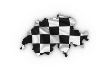 Switzerland map showing a checkered flag including clipping path