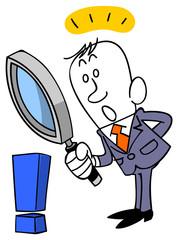 ビジネスマンと虫眼鏡とエクスクラメーションマーク