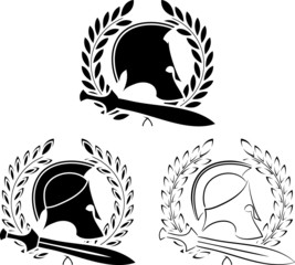 set of ancient helmets with swords and laurel wreaths
