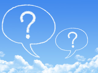 question marks with speech bubbles shaped cloud