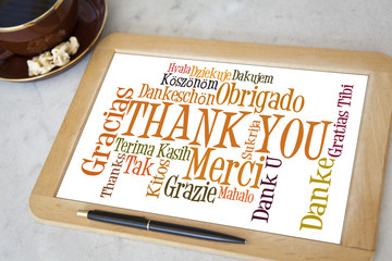blackboard with thank you word cloud