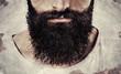 close up of long beard and mustache man