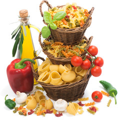 Italian pasta, vegetables and olive oil.