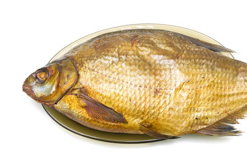 Bream fish smoked closeup on a white background.