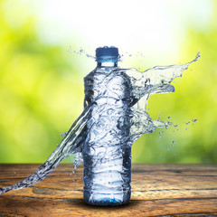 water splash on water bottle