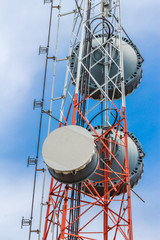 Telecommunication tower with cell phone antenna system against b