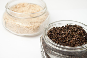 Two homemade bath scrubs