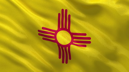US state flag of New Mexico waving in the wind - loop