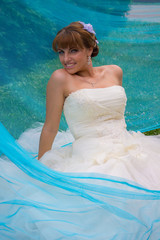 Bride and blue tulle