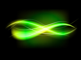Blurry abstract green lined light effect background
