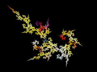 Multicolor fractal flower on black background