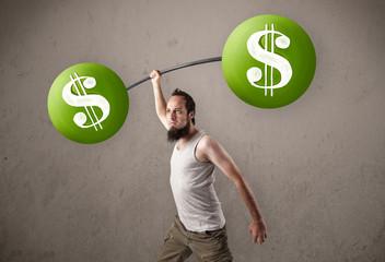 skinny guy lifting green dollar sign weights