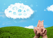 Happy smiley fingers looking at cloud with blue social icons and