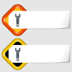 set of two icons with paper on note and spanner