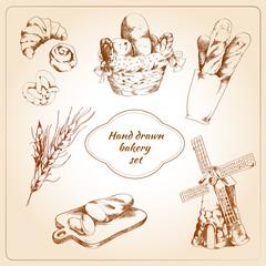 Bakery hand drawn icons set