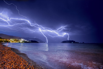 Thunderstorm over Adriatic sea coastline.