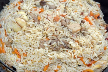 Pilaf or pilau with lamb and rice.