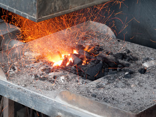 Forge in the workshop of a blacksmith