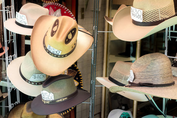Cowboy hats for sale at a store