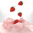 Strawberries falling into yogurt splashes