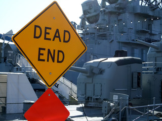 Warning sign at a warship