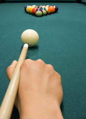Snooker player opening shot