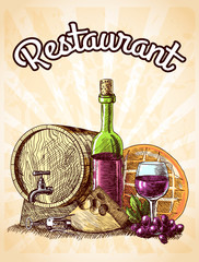 Wine cheese and bread poster