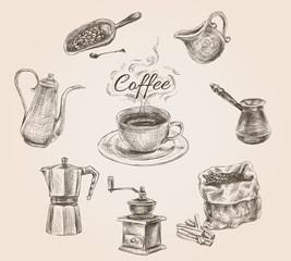 Hand drawn retro coffee set